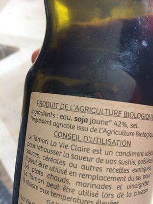 Sauce Tamari au soja - Ingrédients - fr