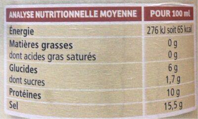 Sauce Tamari au soja - Informations nutritionnelles - fr