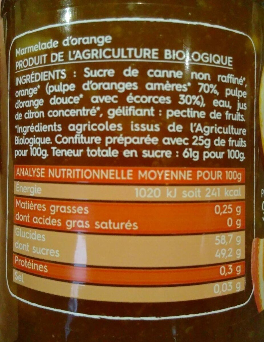 Marmelade d'orange - Valori nutrizionali - fr