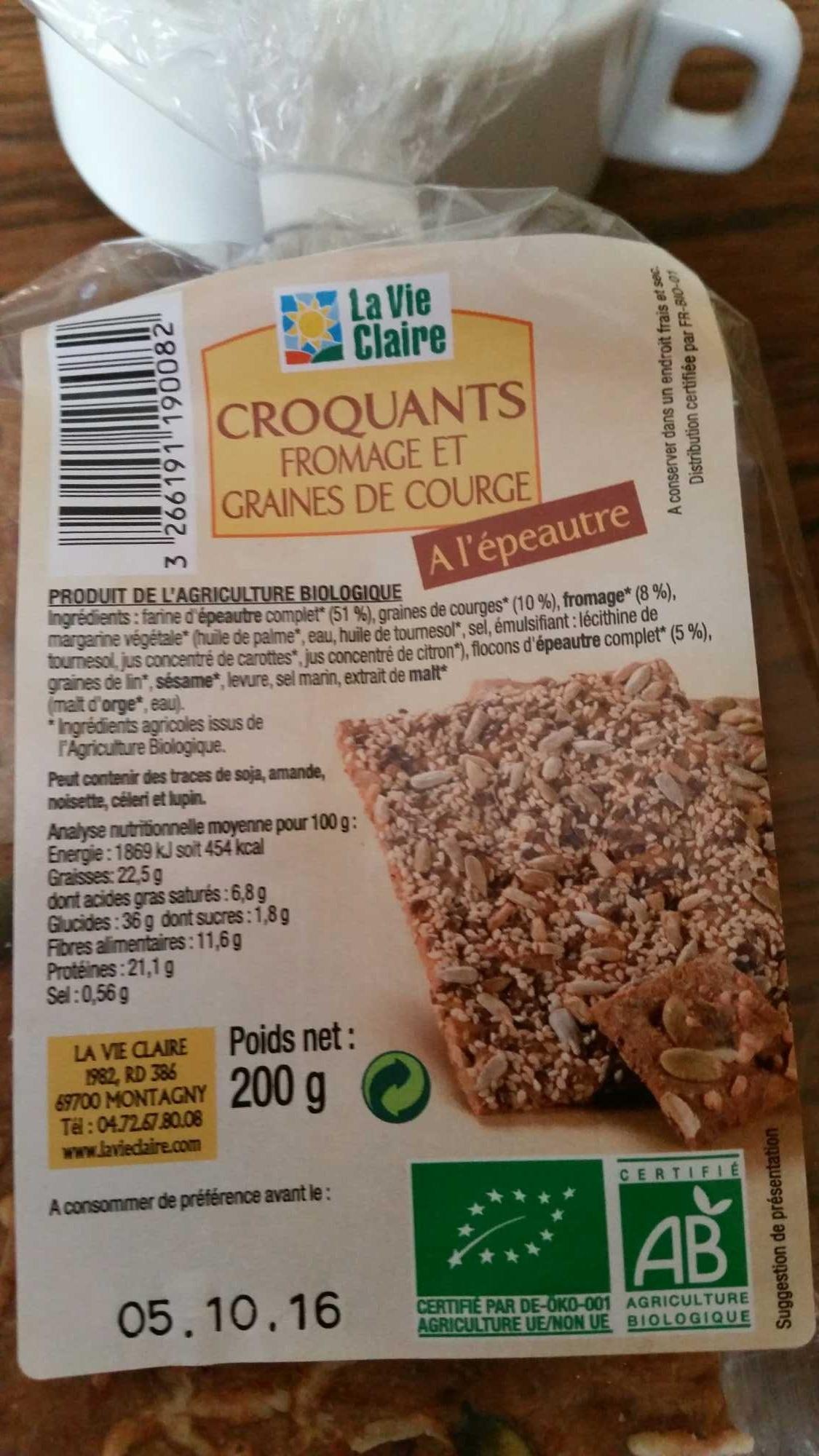 Croquants Fromage et Graines de Courge à l'Épeautre - Produit - fr