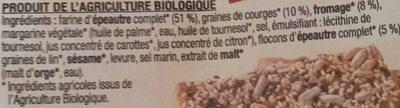 Croquants Fromage et Graines de Courge à l'Épeautre - Ingrédients - fr