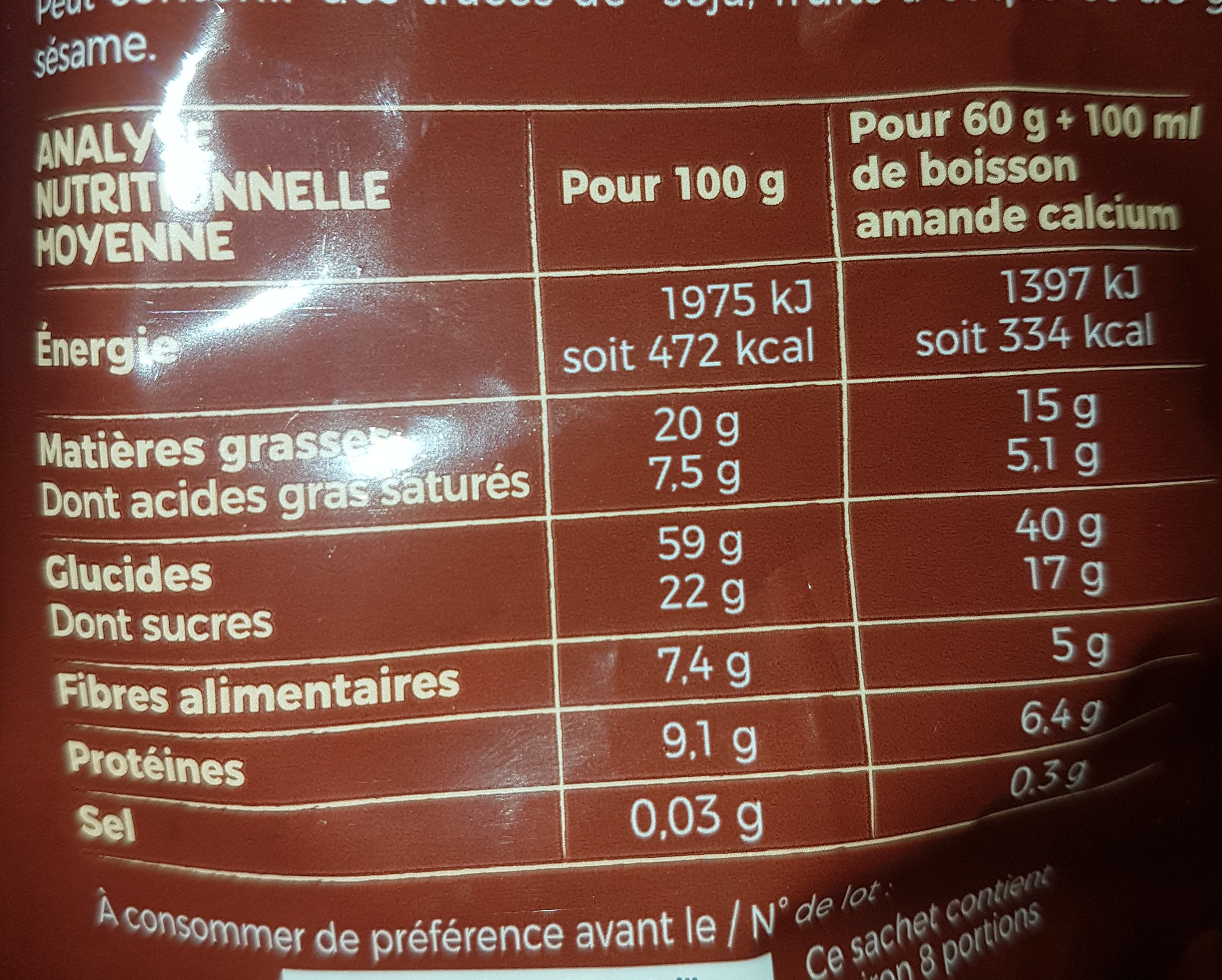 Crunchy intense 2 chocolats - Nutrition facts