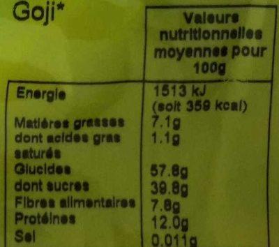 Baies de Goji de Chine - Valori nutrizionali - fr