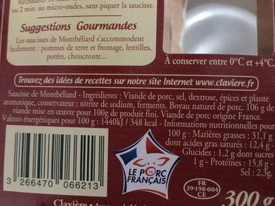 Claviere, Saucisse de Montbeliard fumees en Tuye, le paquet de 2 - Ingrediënten