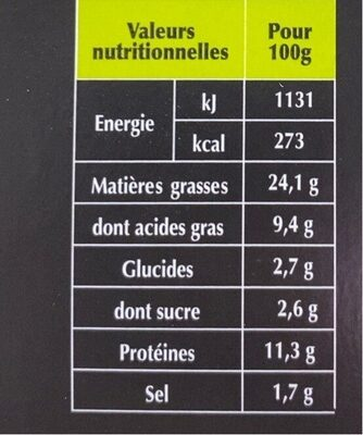Boudins blancs - Informations nutritionnelles - fr