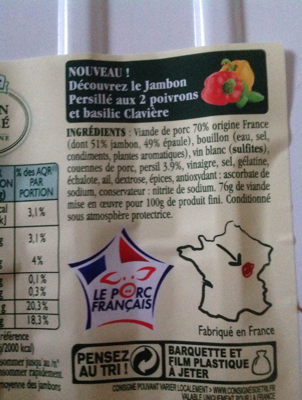 Véritable jambon persillé de Bourgogne aux 2 poivrons et basilic CLAVIERE - Ingredients - fr