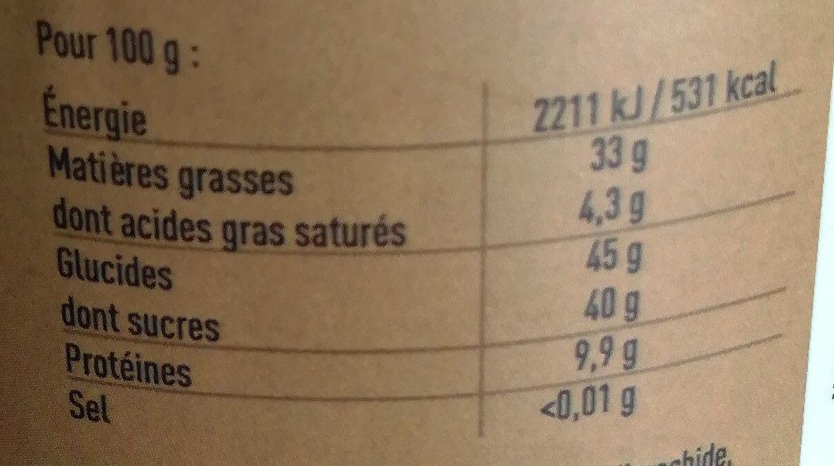Pâte à tartiner bio - Valori nutrizionali - fr