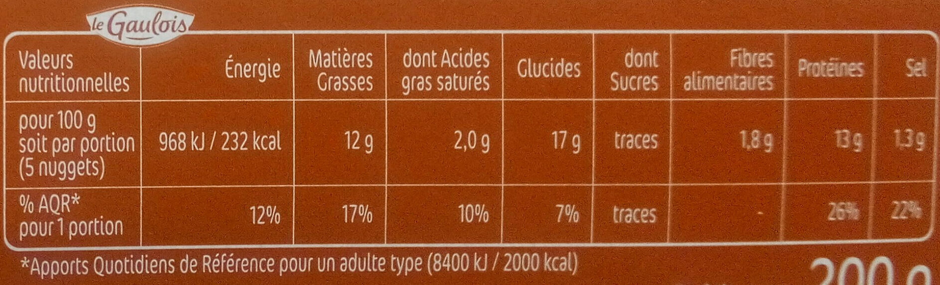 Nuggets Extra Croustillant x10 - Informations nutritionnelles