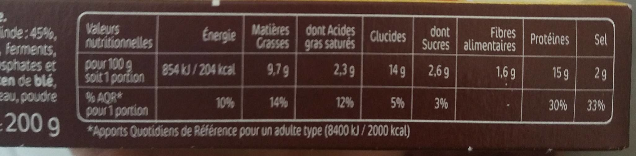 Croq jambon de dinde x2 - Nutrition facts