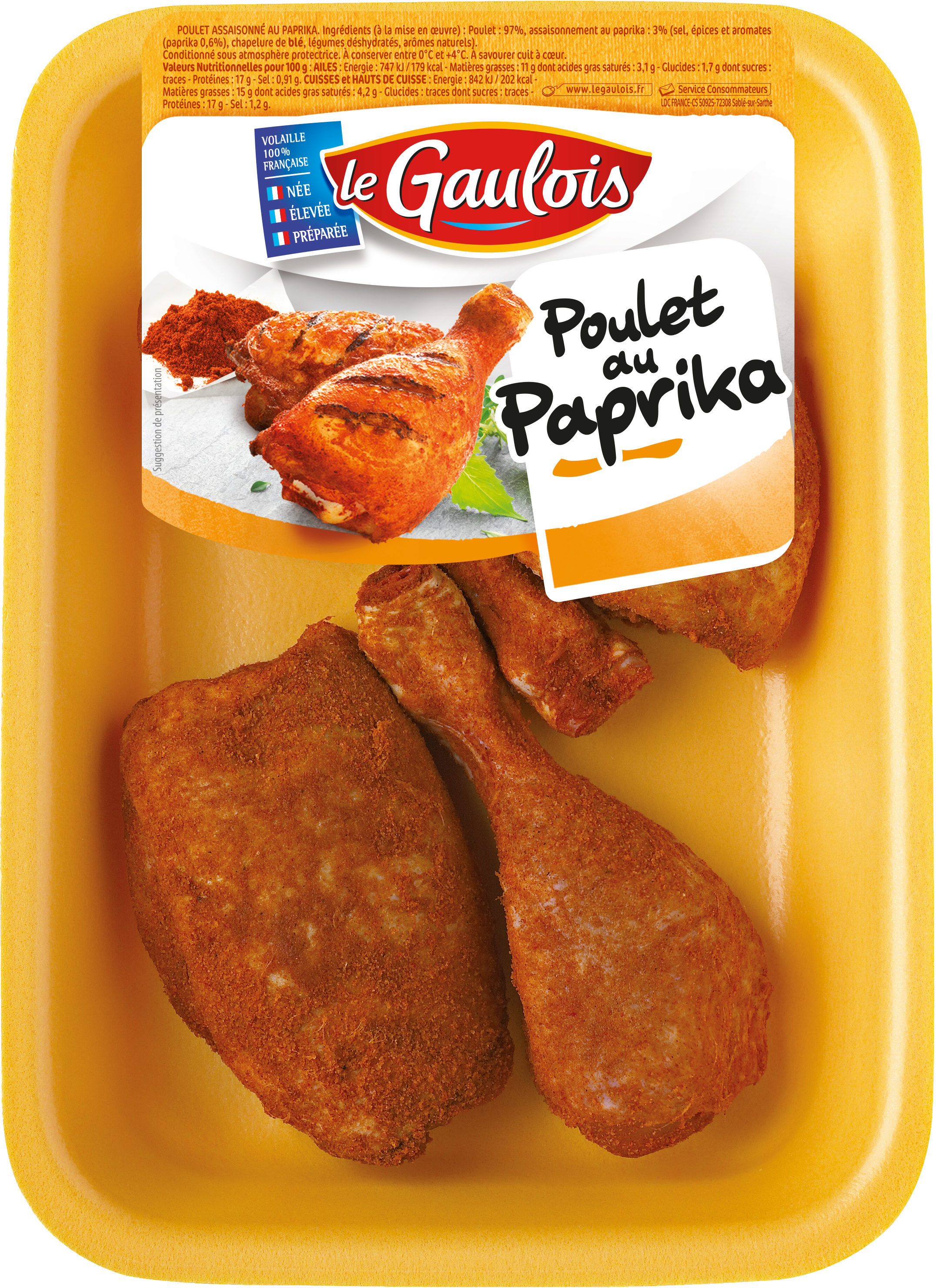 cuisses de poulet découpées au paprika - Produit - fr