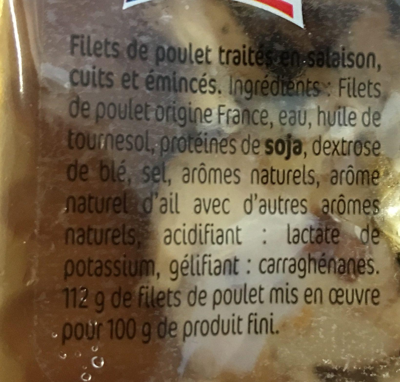 Emincés de filet de poulet rôti - Ingrédients - fr