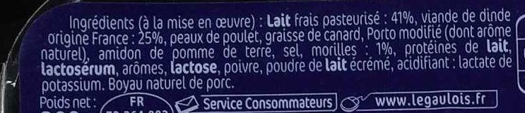 Boudins Blancs aux Morilles x 3 - Ingrediënten