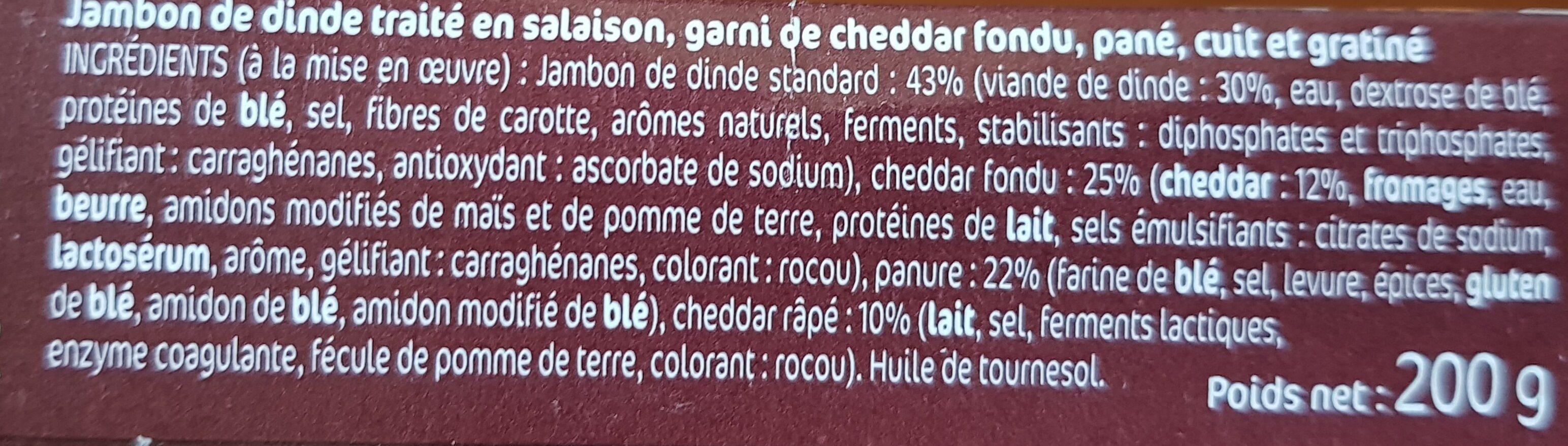 Croq' Extra Cheddar, Gratiné et Fondant x2 - Ingredients
