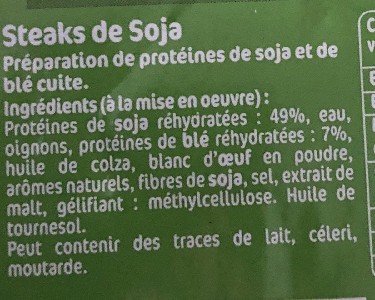 Steaks de soja - Ingredients - fr
