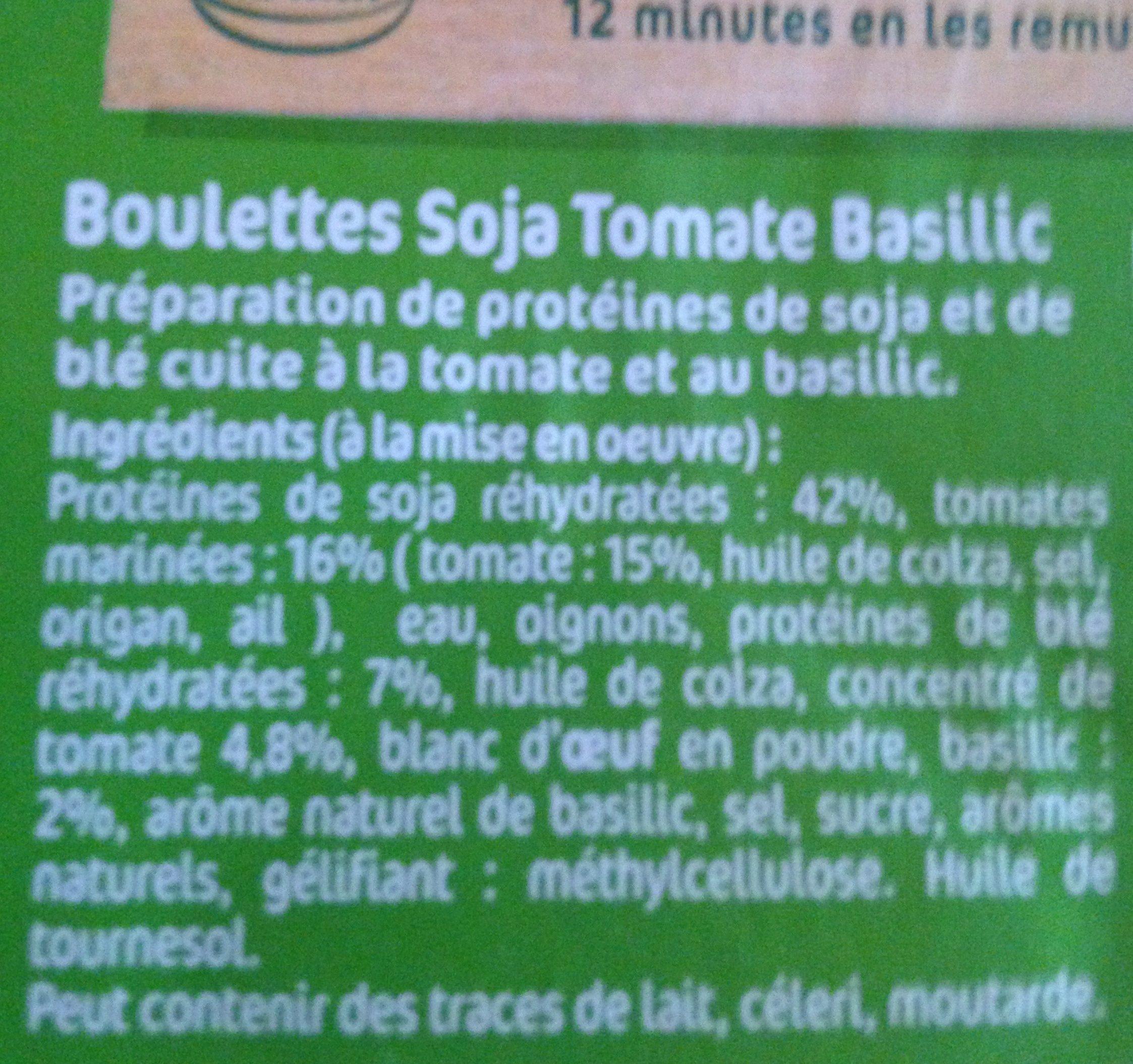 Boulettes Soja Tomates Basilic - Ingredients - fr