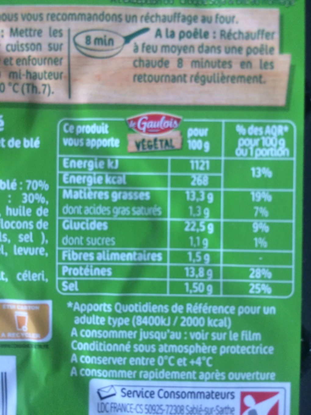 Nuggets Soja & Blé - Nutrition facts - fr