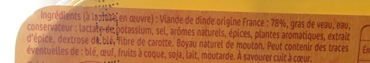 Saucisses de volaille x6 - Ingrédients - fr