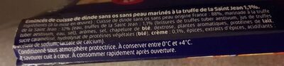 Emincés de dinde à la truffe - Inhaltsstoffe - fr