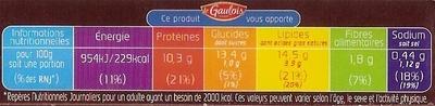 panés normand x2 - Informations nutritionnelles