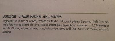 Paves d'autruche - Ingrédients - fr