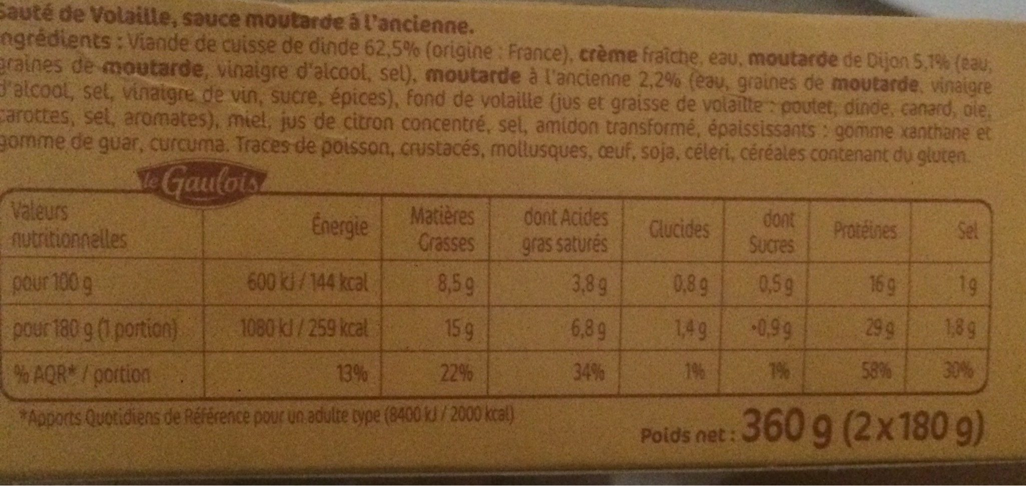 sauté volaille sauce moutarde à l'ancienne s/étui - Informations nutritionnelles - fr