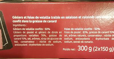 Duo Confit Gésiers + foies - Ingrediënten
