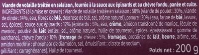 2 Panés chèvre épinard - Ingredients
