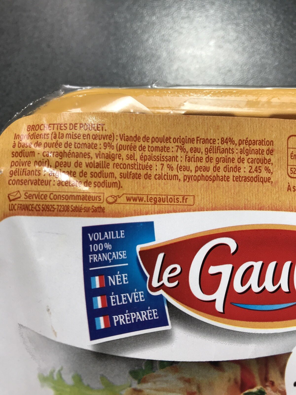 brochettes de poulet x 4 s/at - Ingrédients - fr