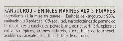 Emincés de Kangourou marinés aux 3 Poivres - Ingrédients