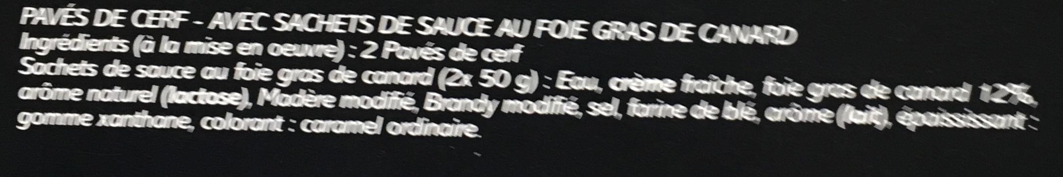 Cerf + sauce foie gras - Ingrédients