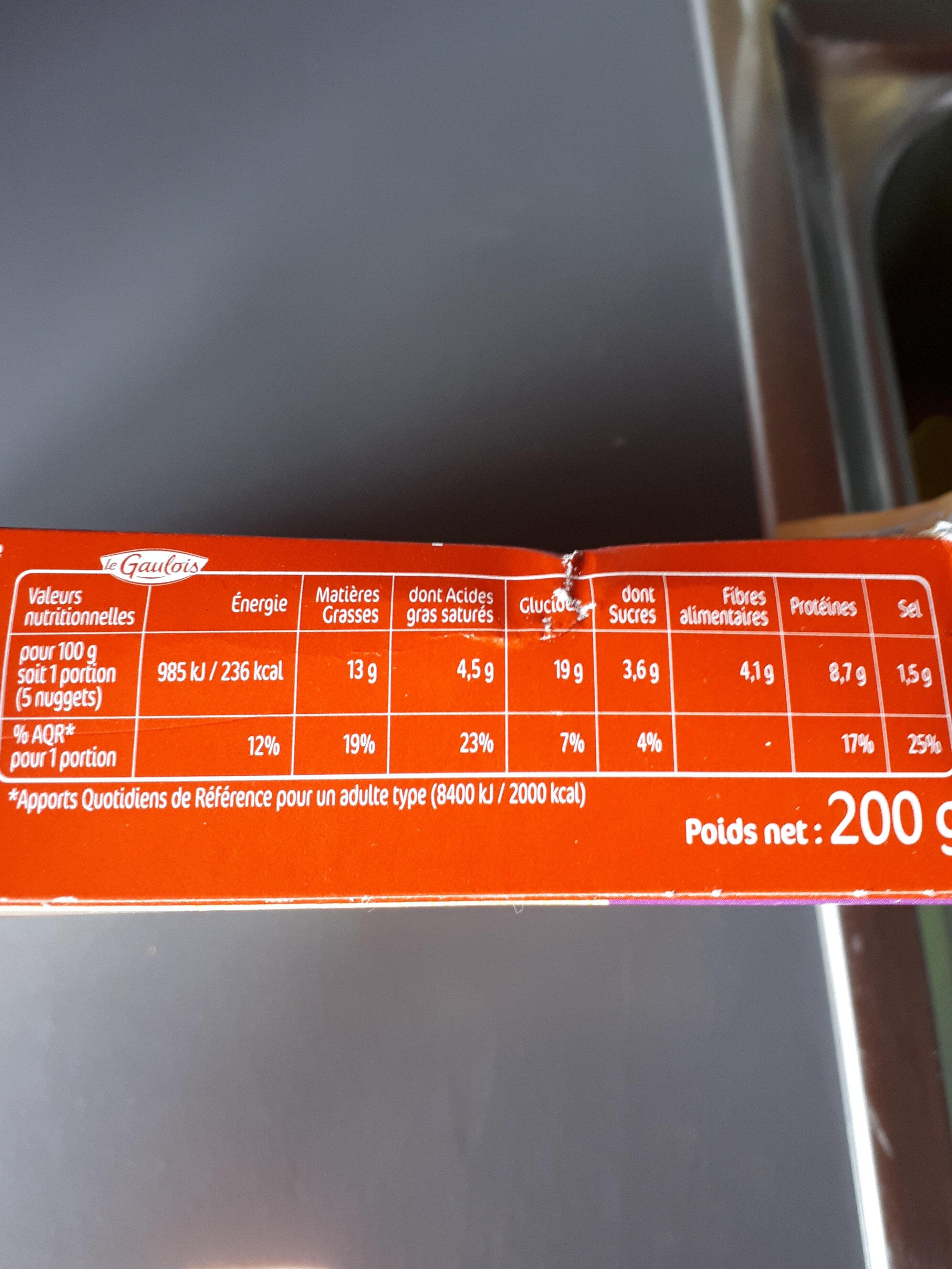 Nuggets Jambon de dinde fromage x10 - Informations nutritionnelles
