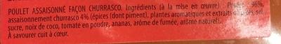 Poulet façon Churrasco - Ingrédients