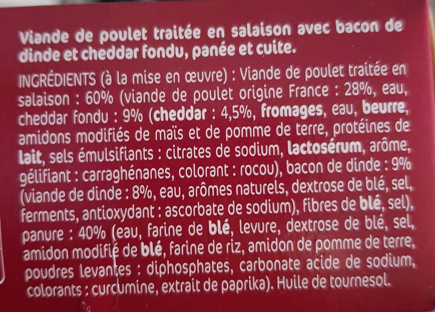 Chichis bacon cheddar - Ingredients