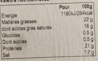 Camembert AOP Edition Gourmet - Informations nutritionnelles - fr