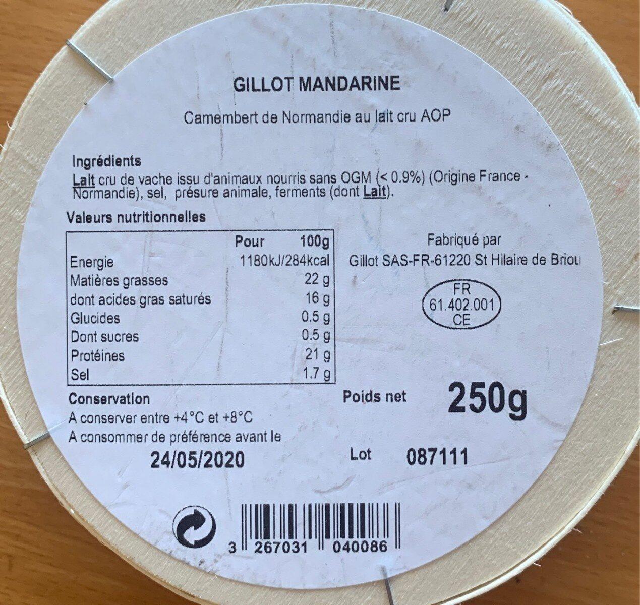 Camembert AOP - Informations nutritionnelles - fr
