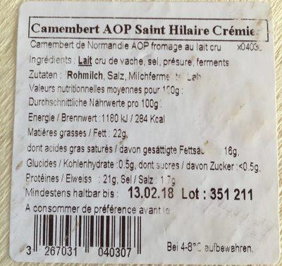 Camenbert de normandie - Ingredients - fr