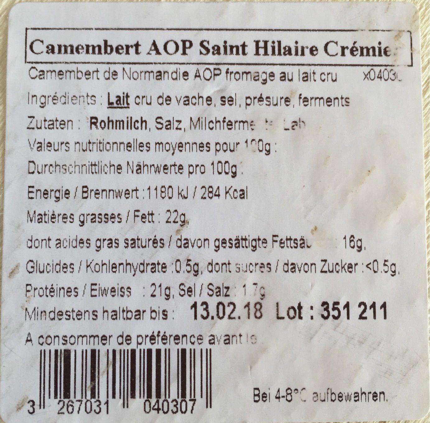 Camenbert de normandie - Nutrition facts - fr