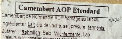 Camembert de Normandie - Ingrédients
