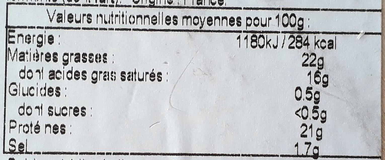 Camembert de Normandie AOP - Nutrition facts