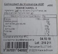 Camembert - Ingredients - fr