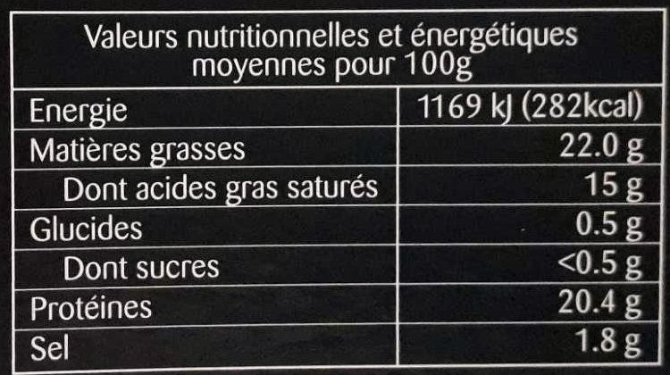 Camembert de Normandie AOP au Lait Cru (22% MG) - Nutrition facts