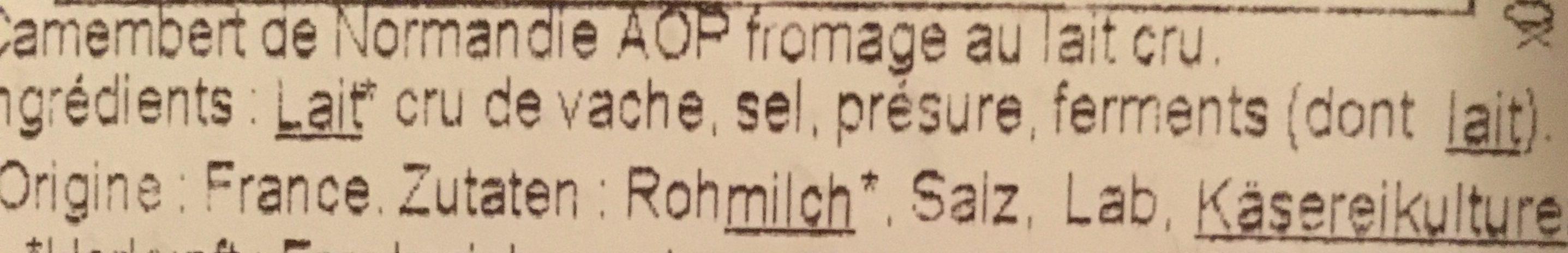 Camembert AOP Saint Hilaire Lait Cru Moule à La Louche - Ingredients