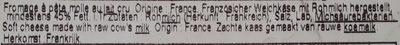 Camembert Petit Normand (45% MG) au lait cru - Ingredients