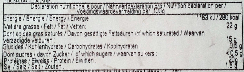 Camembert Petit Normand (45% MG) au lait cru - Nutrition facts