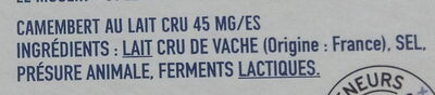 Camembert au lait cru - Ingredients - fr