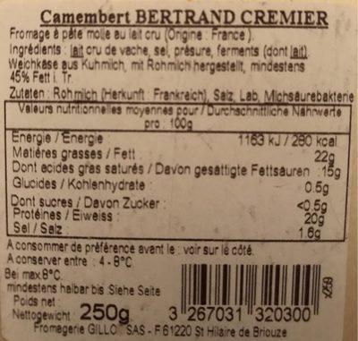 Camembert au Lait Cru - Nutrition facts - fr