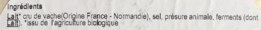 Camembert bio - Ingrédients - fr