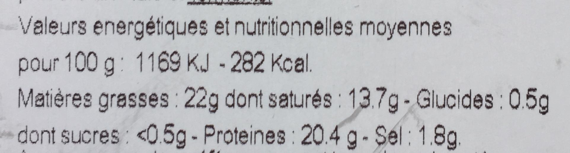 Petit camembert bio - Voedingswaarden - fr