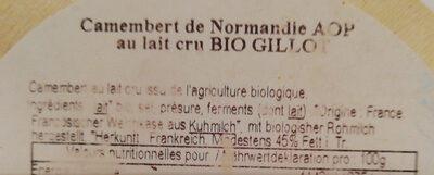 camembert de Normandie Gillot bio - Ingrédients - fr