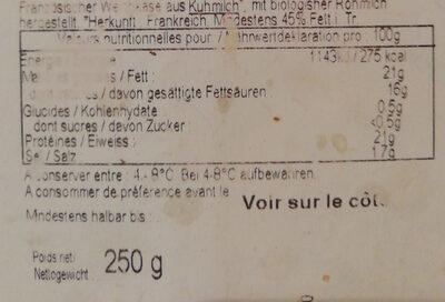 camembert de Normandie Gillot bio - Informations nutritionnelles - fr